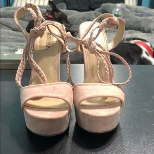 Pinkish beige block heels